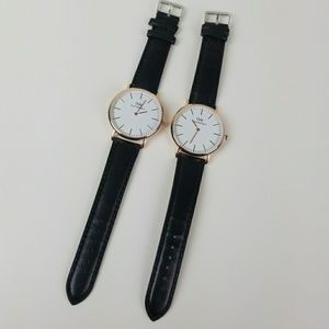 DW set of 2 black rose gold watches